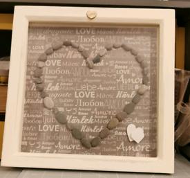 Heart Pebble Art Frame