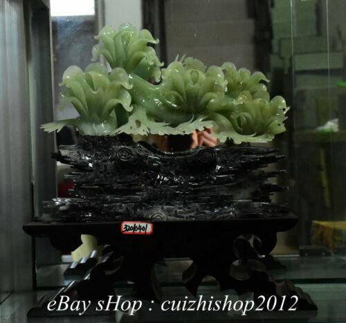 "15"" China Natural Xiu Green Jade Jadeite Carved yulan magnolia flower Statue"