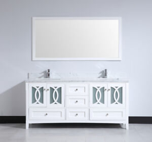 COMPLETE VANITIES WITH MARBLE TOP, SINK, AND MIRROR