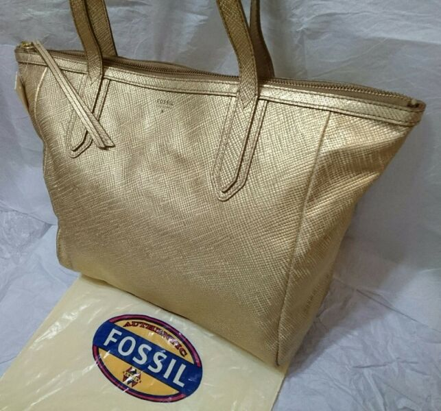 FOSSIL SYDNEY SHOPPER LEATHER TOTE in METALLIC GOLD