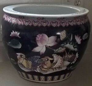Vintage Chinese Hand Painted Porcelain Fish Bowl with Koi Fish