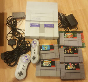 Super Nintendo console and games