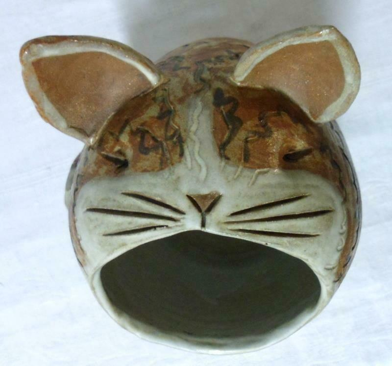 Stoneware Art Pottery Studio Handcrafted Big Mouth Cat Kitchen Utensil Holder