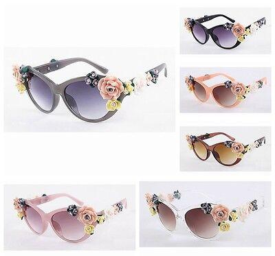 Floral Sunglasses (Oversized Women's Girls Baroque Anti-UV Sunglasses Retro glasses Floral)