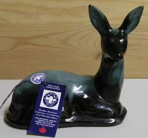 Blue Mountain Pottery Deer Green Glaze with Tags MINT
