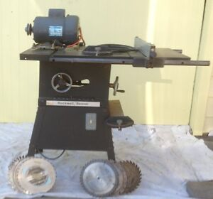 Beaver Rockwell cast iron Table saw with saw blades. 1.5 h.p.