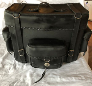 Leather Motorcycle Bag with Rain Cover