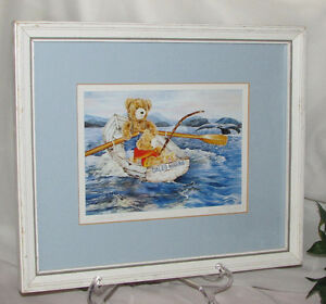"""WENDY TOSOFF FRAMED PRINT """"A WHALING TALE"""" 1980'S CHILD'S ROOM"""