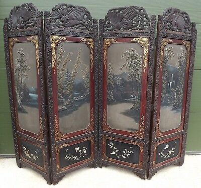 SUPERB VINTAGE CARVED & HAND-PAINTED WOODEN FOUR-FOLD ORIENTAL SCREEN DIVIDER
