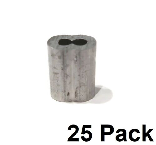"(25) 1/8"" Wire Rope ALUMINUM CABLE CLAMP Double Barrel Snare Swage Connectors"
