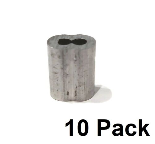 "(10) New 1/8"" Wire Rope ALUMINUM CABLE CLAMP Double Barrel Loop Ferrule Sleeves"