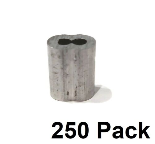 """(250) New 1/8"""" Wire Rope ALUMINUM CABLE CLAMP Double Barrel Loop Ferrule Sleeves"""