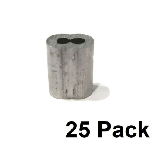"(25) New 1/8"" Wire Rope ALUMINUM CABLE CLAMP Double Barrel Loop Ferrule Sleeves"