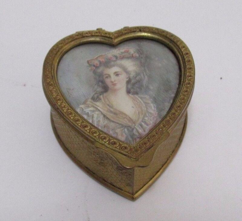 HEART Shape TRINKET BOX Antique Gilt Bronze with Lady PORTRAIT LID Signed Lined