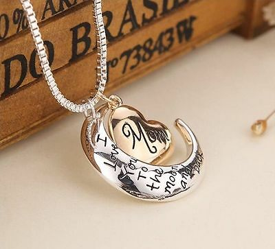 I Love You To The Moon And Back  Mom Pendant Necklace Heart Jewelry Mother