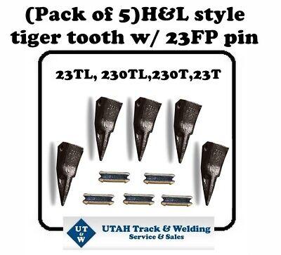 Set Of 5 Backhoe Skid Bucket Teeth With Pins 23tl 230tl 230t 23t