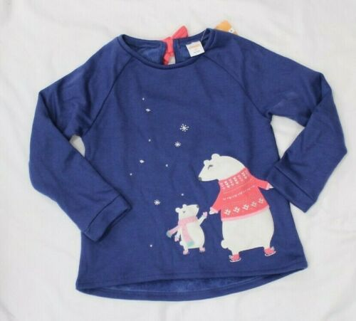 Gymboree Little Girls Pullover Sweatshirt Navy Fleece Lined NEW