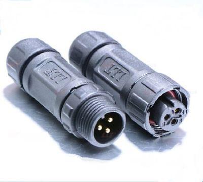 2 X Waterproof Connector -m12 Ip68 3 Pin Screw On Male And Female Plug Llt - Usa