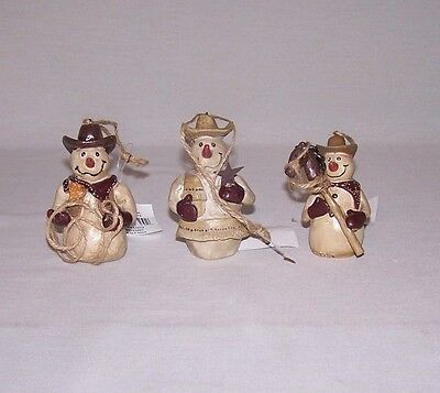 POLYRESIN SET OF 3 COWBOY SNOWMEN HANGING ORNAMENTS OR STANDING FIGURINES - Cowboy Snowman