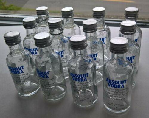 12 EMPTY Absolut Vodka of Sweden 50ml Clear Glass Mini Liquor Bottles Full Dozn