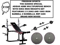 ADIDAS MULTI PURPOSE BENCH 90KG IRON WEIGHTS 2 DUMBELLS BARBELL (BNB)