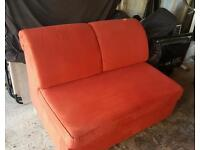 Orange/Red suede double sofa bed
