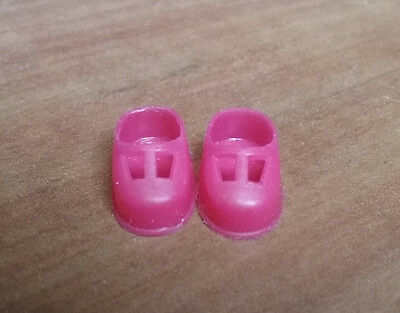 Vintage Liddle Kiddle Little Doll Dark Pink t-strap Shoes Magenta