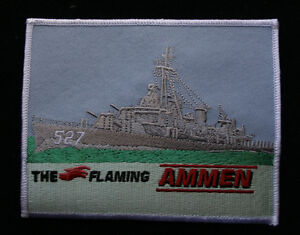 US-USS-AMMEN-DD-527-PATCH-USS-THE-FLAMING-AMMEN-WORLD-WAR-2-DESTROYER-KOREA
