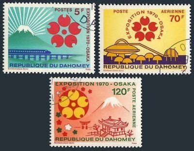 Dahomey 270, C124-C125, CTO.Michel 419-421 EXPO-1970, Osaka, Japan.Mt.Fuji, Train,