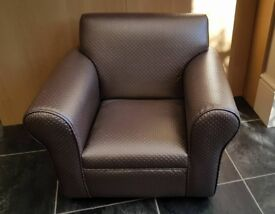 CHILDS ARMCHAIR IN BLINGY FAWN FAUX LEATHER - RECENTLY REUPHOLSTERED