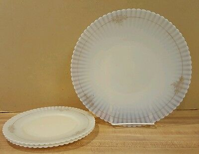"Vintage Opalescent White 10.5"" Plate, Two 8"" Plates Scalloped Edge Gold Flowers"