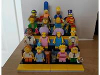 Simpsons series 2 minifigures with custom made lego display stand
