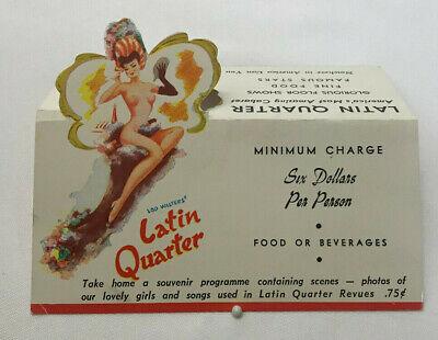 Vtg Latin Quarter Table Card Advertising Pin-up Night Club Sexy Risque NYC