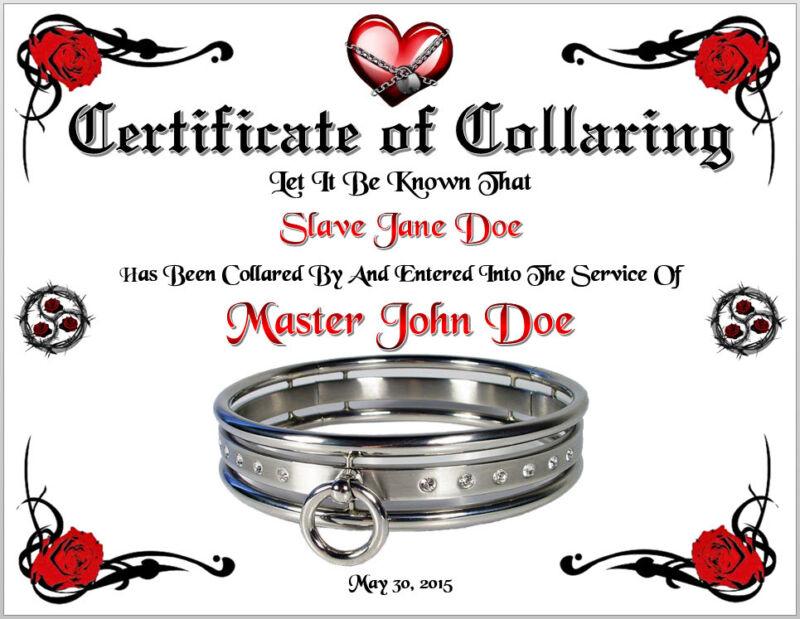 BDSM Certificate of Collaring Master Slave Fet Love Bondage 50 Shades of Grey