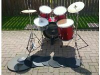 Red 'Dragon' drum kit with extras
