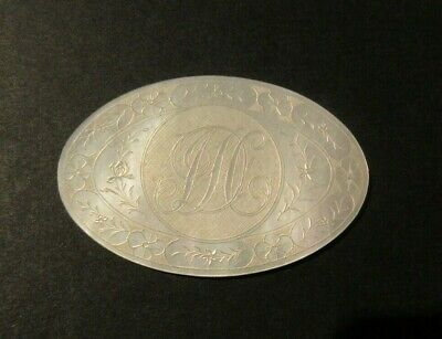 ANTIQUE CHINESE MOTHER OF PEARL CARVED OVAL GAMING COUNTER MONOGRAM JSC  C. 1785