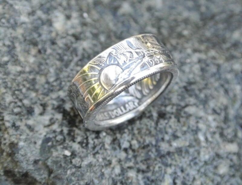 Handmade .900 Silver coin ring 1940-47 Walking Liberty half dollar sizes 9 to 13