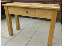 Halo solid oak console, telephone table with drawer, excellent condition.