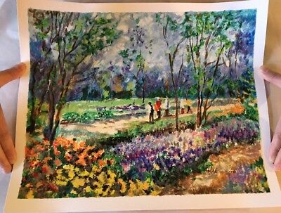 """""""Afternoon Picnic"""" 15x12 Serigraph By Dimitri Polak Hand-signed W/ COA"""