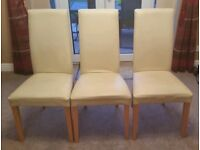 4 Dining Chairs - Cream Leather / Wood