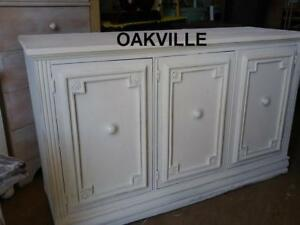 Oakville Credenza Buffet Cabinet WHITE Shabby Chic Style Recently painted white Large Roomy Heavy Vintage Mid-Century