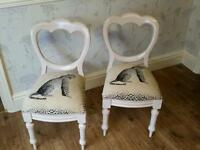Pair Of Shabby Chic / Stressed Balloon Back Chairs.