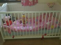 Immaculate white wooden cot bed, with mattress for sale, boxed unused stairgate too