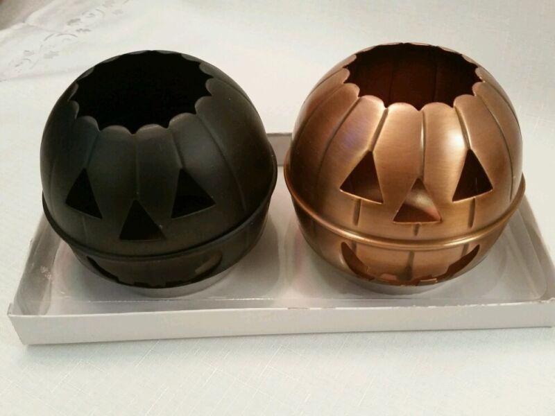 Halloween Black Bronze Metal Jack o Lantern Pumpkin Tealight Votive Holder India
