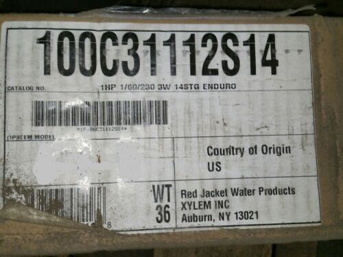 1hp 1/60/230 3 wire deep well pump Red jacket enduro well pump 100c31112s14 NOS