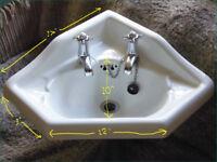 Vintage corner sink wash basin with taps