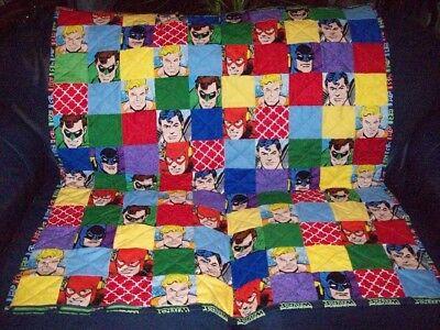 "Handmade Baby Boy Crib Quilt, DC Comics Superman, Batman, Flash+ , 40"" x 46"""