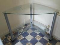 Glass desk on wheels