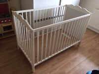 Solid White Quality Wooden Baby Child Cot Toddler Young Family Grandparents Rental Lodgings