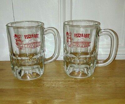 Pair of Vintage Pizza Hut Logo Soda Beer Glass Mugs Restaurant Advertising